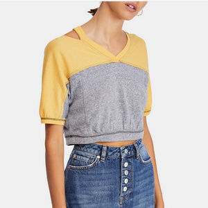 New Free People Cold shoulder Crop Cutout Top